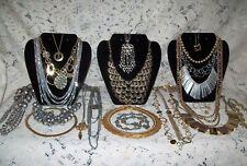 22 Piece Vintage and Modern Mixed Tone Necklace Lot - Monet, Trifari, Napier