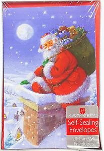 Christmas Holiday Glitter Cards Santa Climbing in Chimney 20 count New