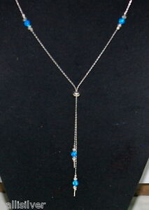 3 pieces 925 Sterling Silver Beads and 4mm OPAL Beads LARIAT Necklaces LOT