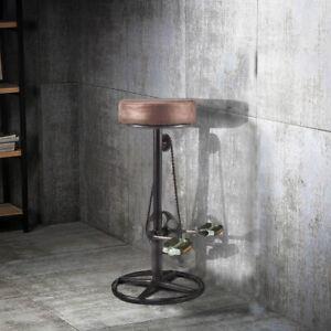 Vintage Retro Designer Kitchen Simulation Bicycle Pedal Leather Bar Stools