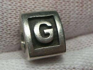 """PANDORA Charm Letter """"G"""" Retired ALE 925 Sterling Silver.  #3"""