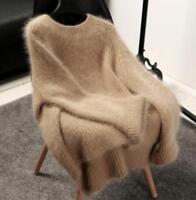 Women cashmere mink fur Pullover Sweater Oversize Loose Korean Tops Coat Jackets