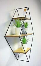 Retro Diamond Metal Hanging Shelf Wall Mounted Display Unit Metal Frame Rack DIY