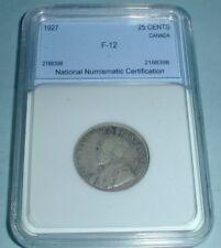 1927 Canada .25 Twenty Five Cent Graded F-12