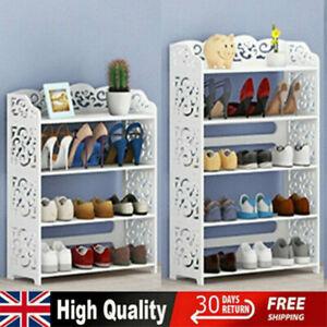Wooden 4/5 Tiers Shoe Rack Stand Storage Organiser Unit Shelf Home Holder White