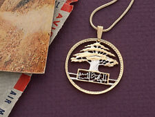 "Lebanese Cedar Tree Pendant & necklace Hand Cut Coin 1 1/8"" Diameter ( # 608 )"