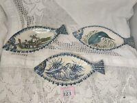 Stunning Set Of 3 Vintage Ceramic Hand Painted Fish Shaped Dishes Impressed Mark