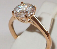 Cubic Zirconia Solitaire (round, 2.0ct) ring in 9K Yellow Gold, Size L.