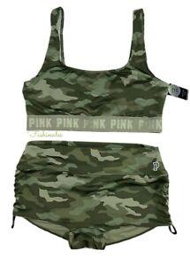Victorias Secret PINK Gym to Swim Swimsuit Set Lined Bikini Top & Bottom Camo M
