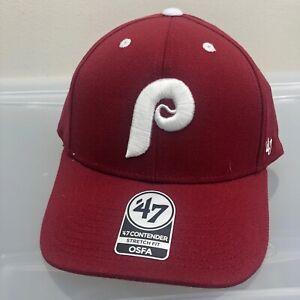 Philadelphia Phillies 47 Brand Hat. New NWT Red One Size Cap. MLB Baseball