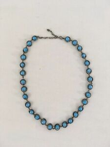 """Vtg 22"""" Blue Faux Turquoise Stone Bead Globe Metal Circles Steel Chain Necklace"""