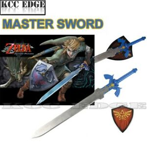 "37.5"" 1:1 BLUE FULL SIZE Zelda Link's Master Hylian Sword w/ Plaque Cosplay Xmas"