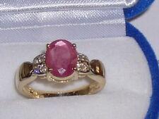 Rubin Diamant Gelbgold Solitär Ring