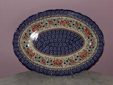 Polish Pottery UNIKAT Basia Scalloped Platter! Zoey Pattern!