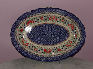 Polish Pottery Basia Scalloped Platter! UNIKAT Signature Exclusive Zoey Pattern!