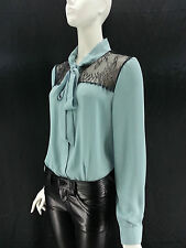 FOREVER 21 Teal Chiffon Lace Blouse Button Up Top Bow Front Tie Sizes S M L