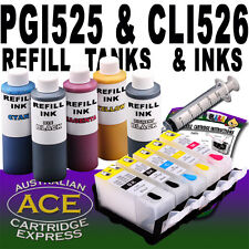 5 Refill Tanks Auto Reset Chips, 5 x 60ml Inks Canon PGI-525 CLI-526 All Colours
