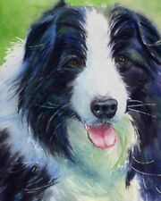 Original Sheepdog Border Collie Painting Black Art Dog Portrait artwork
