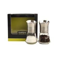 TG CrushGrind Tip Top Stainless Steel Pepper and Salt Mill Set, 12.5 cm, Silver