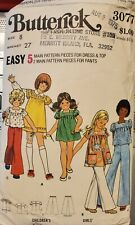 Vtg Butterick pattern 3077 Girls' gathered Dress or Top & flared Pants size 8