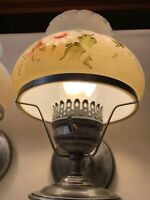 VINTAGE PAINTED GLASS ANTIQUE SILVER PLATED WALL SCONCES