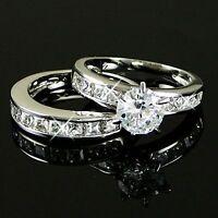 White Gold gp Engagement lab Diamond Wedding Party Classic Anniversary Ring Set