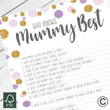 Who Knows Mummy Best Baby Shower Party Game, Stylish Polka Dot Design Unisex A5