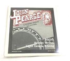 John Pearse Banjo Strings 5 Strings 80/20 Bronze Wound Light Gauge Extra Long