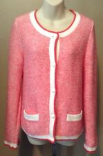 Gap Pink & White Button Front Sweater Cardigan Cable Knit Size Small