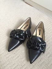 Zara Women's Black Flat Shoes With Bow Detail Size UK 8 (41) BRAND NEW