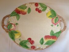 Fitz and Floyd 1990 Basket Weave Fruit Platter / Serving Plate with Handles