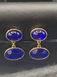 """Avon Jewelry, clip on earrings with cobalt blue """"stones""""  NOS E-40"""
