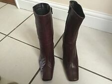 Bertie Ladies Burgundy Heeled Ankle Boots Size 36 / 3. Good Condition.