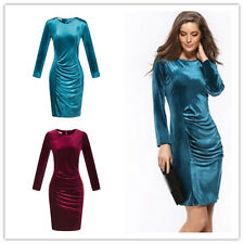 Plus Size UK10--20 Women's Dress Velvet Slim Long Sleeve Hip Package Dresses