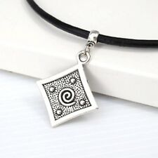 Silver Alloy Square Spiral Tribal Gothic Pendant Black Leather Surfer Necklace