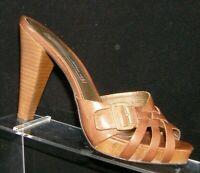 Steven by Steve Madden 'Gatista' brown leather woven buckle mule heels 7.5M