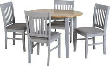 Oxford Extending Dining Set in Grey/Natural Oak/Grey Fabric 4 Chairs Free Del