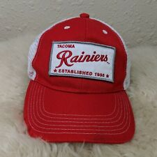 TACOMA RAINIERS MiLB Logo Patch Hat Mesh Strapback Cap Red White NEW