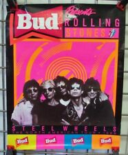 1989 Rolling Stones Concert Poster Budweiser North American Tour Steel Wheels