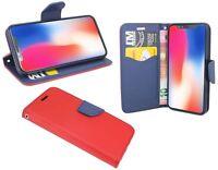 iPhone X // Brieftasche Zubehör vertikal seitliche Tasche Hülle in Rot-Blau