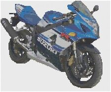 Suzuki GSX750R Motorbike Cross Stitch Kit by Florashell