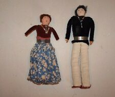 Male and Female Navajo - hand made cloth Dolls - 1940-50s - 8 and 9.5 inches