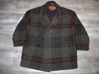 Vintage Woolrich Plaid Pea Coat Jacket Wool Blanket Hunting Work Mens Size Large
