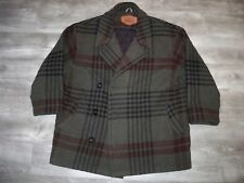 Vintage Woolrich Plaid Pea Coat Jacket Wool Blanket Hunting Work Mens Size Large
