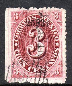 Mexico 1882 Foreign Mail Small Numeral 3¢ Rose Carmine Orizava VFU MX3