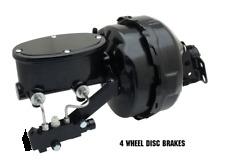 "Black Out 9"" Dual Power Brake Booster & Disc Disc Oval Master Cylinder Kit"