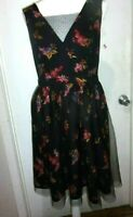 Modcloth Cute Lace & Tulle Overlay Floral Black Dress size 1X (B232)