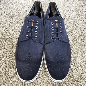 Santoni Men's Blue Suede Wingtip Dress Sneakers-Size-US 9