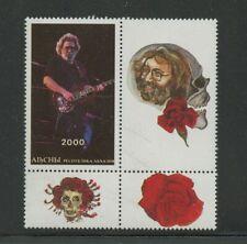 Jerry Garcia Grateful Dead Block Stamp Plus 3 Labels mnh Abkhazia Music