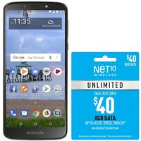 Net10 Motorola Moto e5 4G LTE Prepaid Cell Phone with $40 Airtime Plan Included